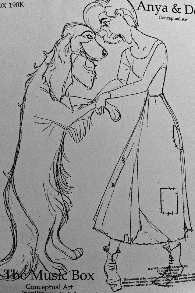 Film: Anastasia =====  Character: Anya/Anastasia & Pooka =====  Note: They were considering other alternatives to the small dog we ended up with in the film. One was for the dog to be HUGE. I'm wondering if they're changing dog breeds along with the length of her hair?