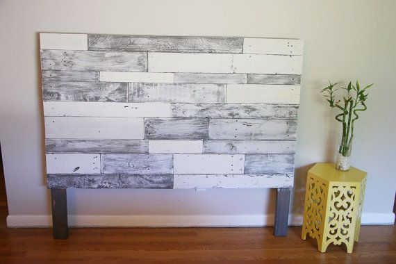 Cabecero de palet blanco gris cabecero de palet madera - Cabecero de madera blanco ...