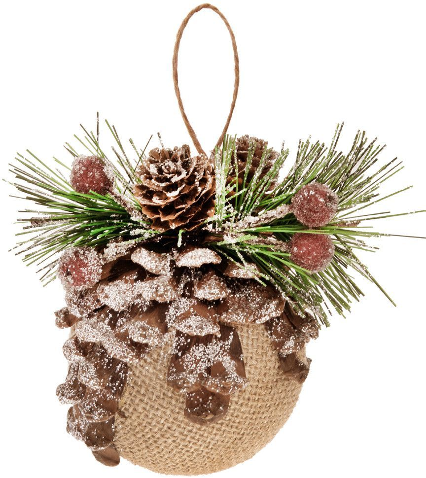 Burlap Pinecone Ball Ornament (Set of 2)