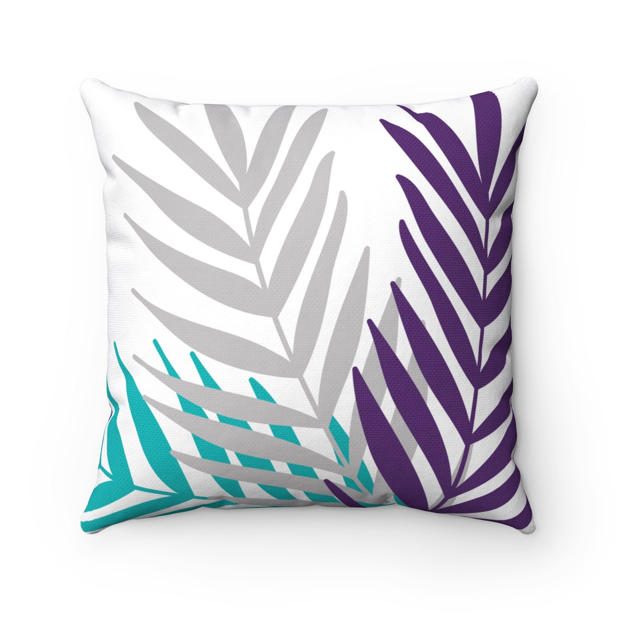Excited To Share The Latest Addition To My Etsy Shop Throw Pillow Cover Purple Teal Gray Palm Leaves P Purple Pillows Palm Leaf Pillow Purple Pillow Covers