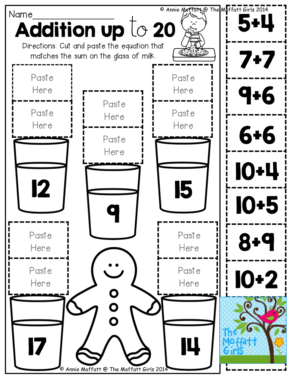 Cut And Paste Addition Worksheets For Kindergarten