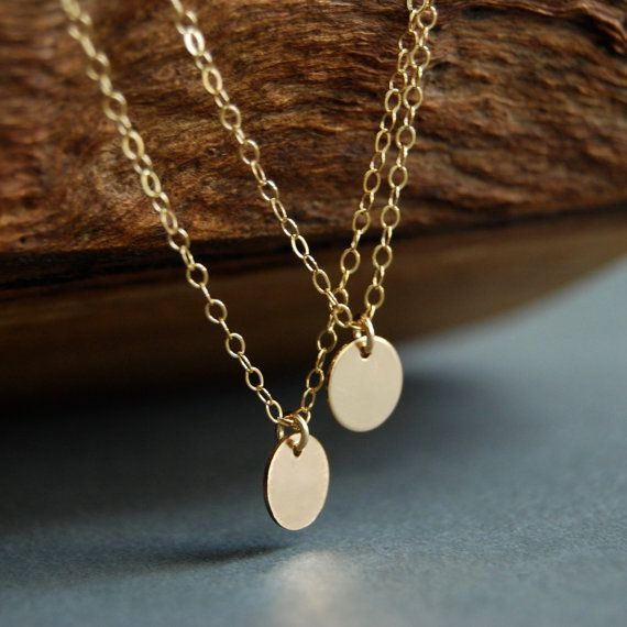 Aniani necklace - double layered 14k gold filled disc necklace, delicate gold necklace, double strand necklace, layering necklace, hawaii. $34.00, via Etsy.