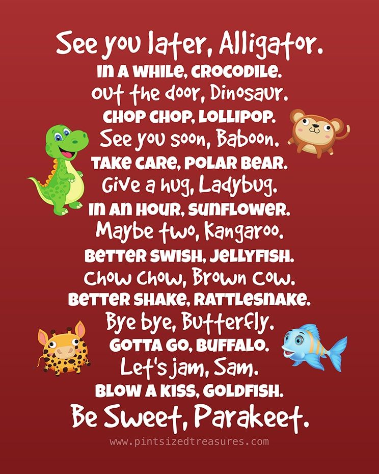 image relating to See You Later Alligator Poem Printable called Entertaining Tactics towards Say Goodbye in direction of Your Small children Printable Procedure