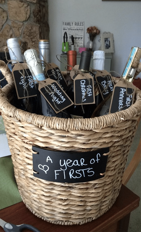 DIY Wedding Gift A Year of Firsts Wedding Gift Basket