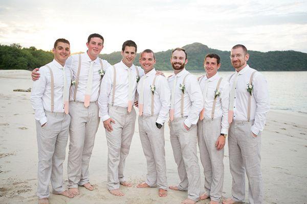 Guanacaste Destination Wedding Groomsmen Attire Beach Wedding