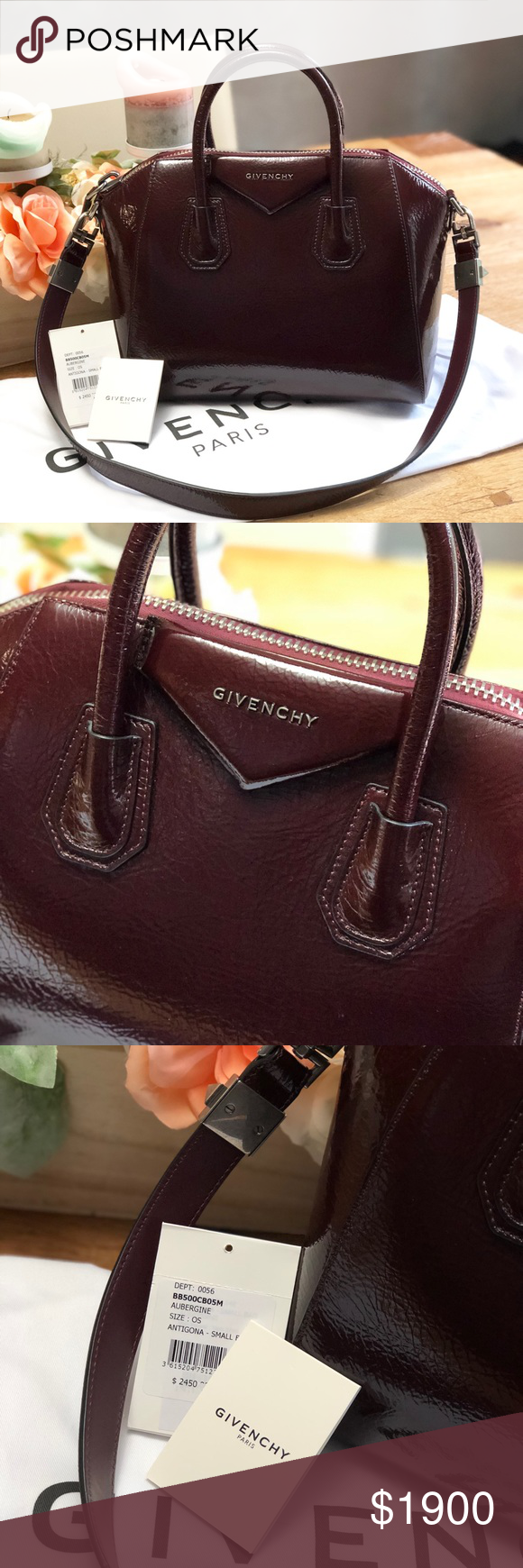 1b603a1b0398 Givenchy Small Antigona creased patent leather Brand new and authentic  Aubergine color 13 1 2