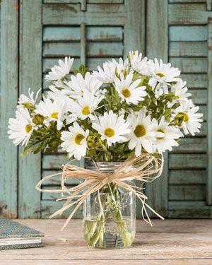 Farmhouse Daisies<br>Silk Flower Arrangement