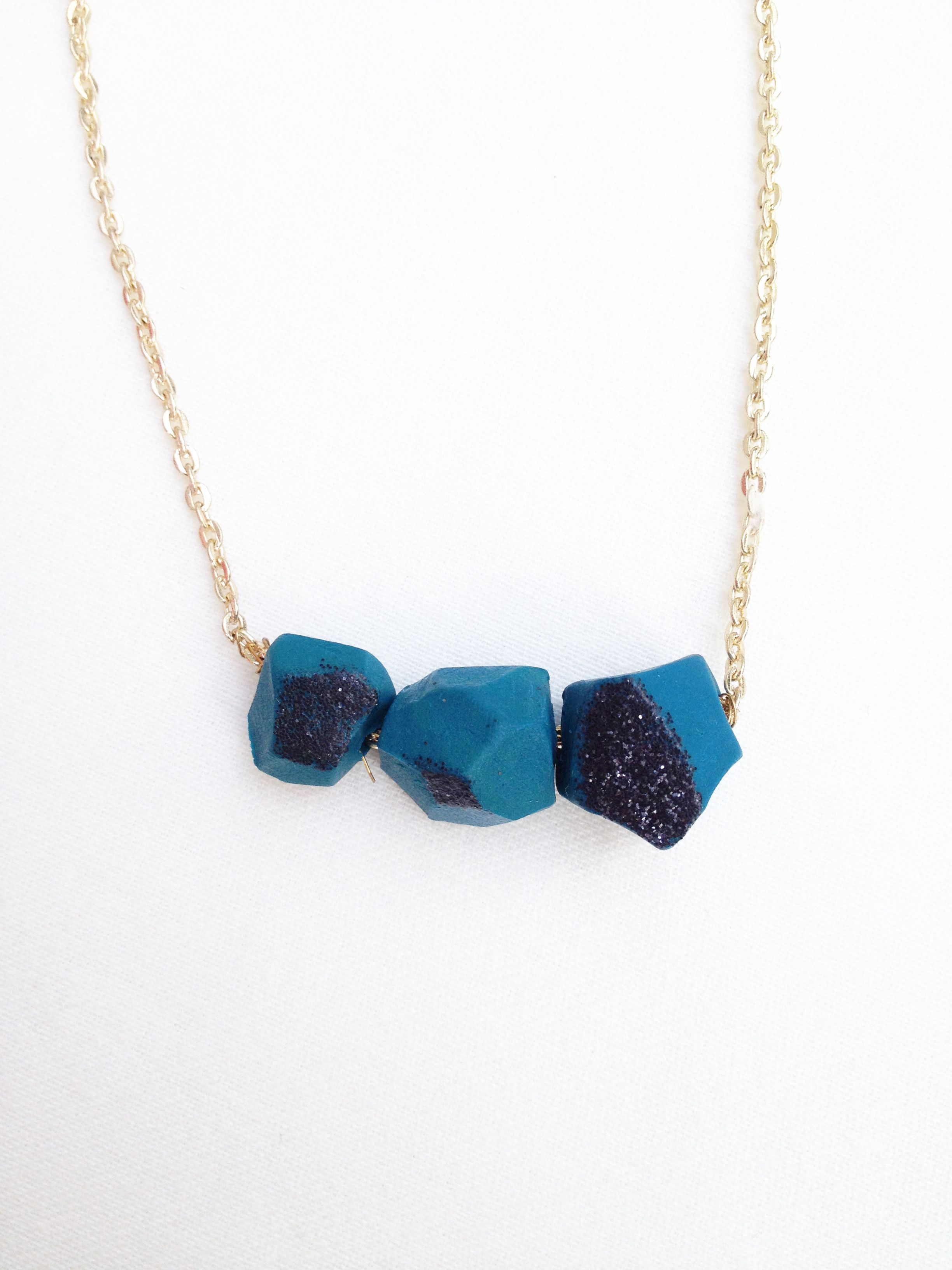 Teal & Black Glitter Polymer Clay Geometric Necklace