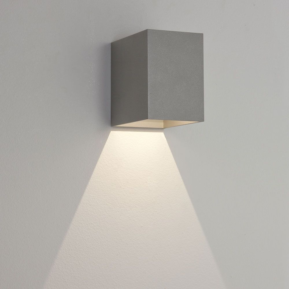 Oslo ip led silver outside downward wall light lighting