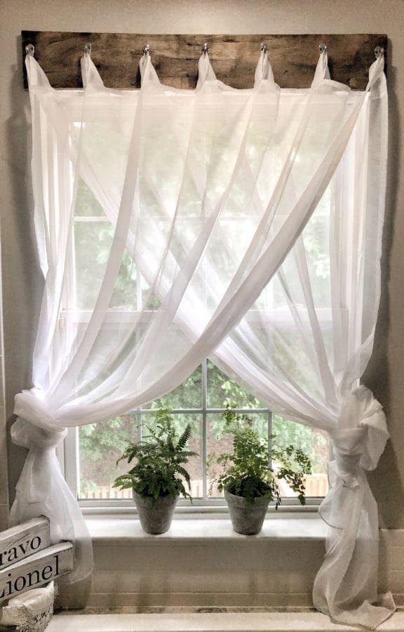 Simple Farmhouse Window Treatments | Ideas for the home ... on Farmhouse Curtain Ideas For Living Room  id=14906
