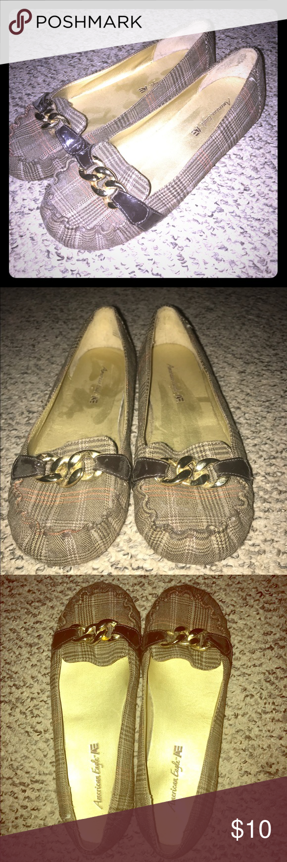 Plaid dress shoe Loafer style, flat dress shoe. Plaid with gold buckle on top. American Eagle by Payless Shoes Flats & Loafers
