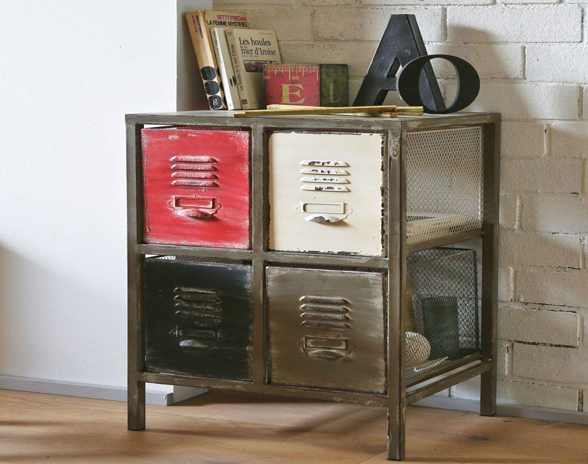 meuble 4 tiroirs style atelier petit