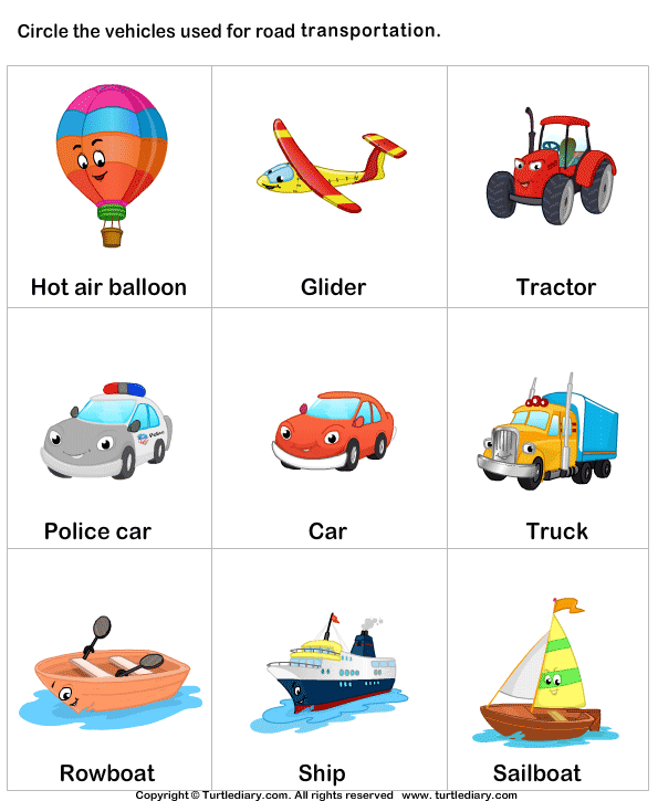 Download And Print Turtle Diary's Different Means Of Transport Worksheet.…  Transportation Preschool Activities, Transportation Preschool, Transportation  Worksheet