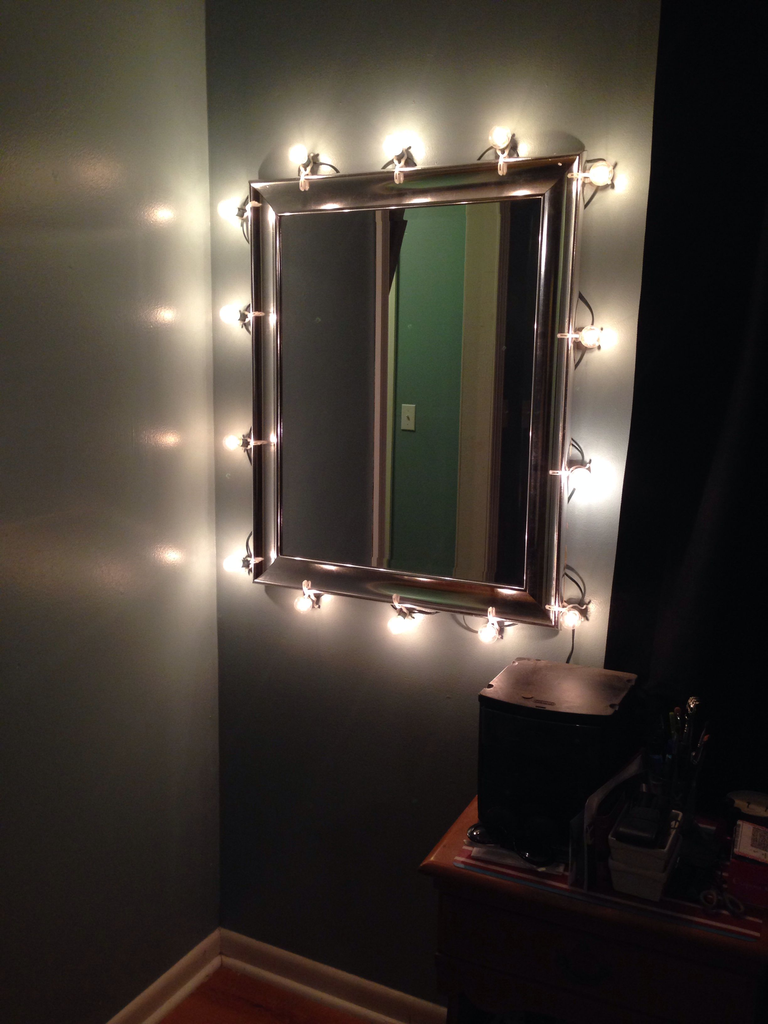 Diy Makeup Mirror With Christmas Lights Silver Mirror C7 Bulbs