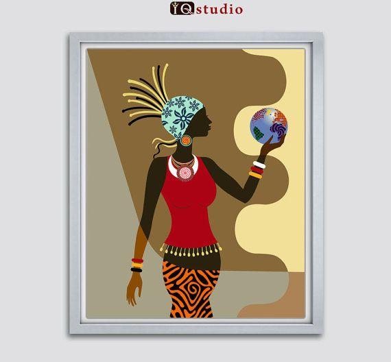 African American Wall Decor african american wall art, african woman, afrocentric decor art