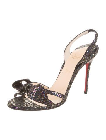 d0dffff49a5 Purple and multicolor glitter Christian Louboutin Grusanda slingback  sandals with bow accent at tops and covered heels. Includes dust bag.