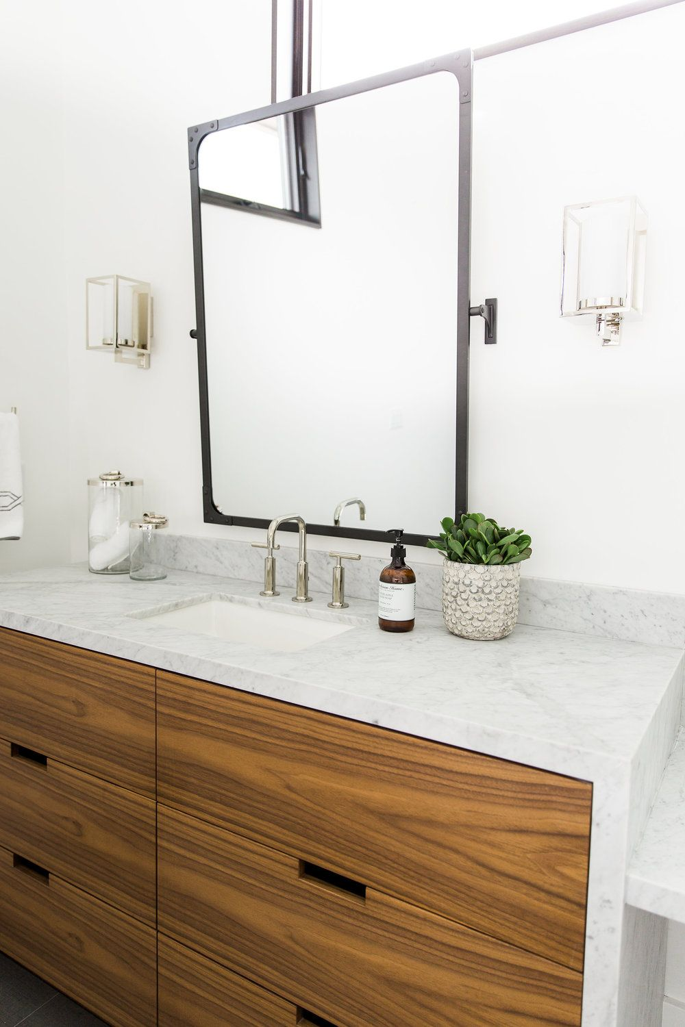 carrera marble countertops waterfall edge on bathroom vanity studio mcgee