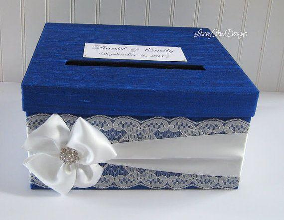 Wedding Gift Box Holder: Royal Blue Card Box / Wedding Card Holder / Card Box With
