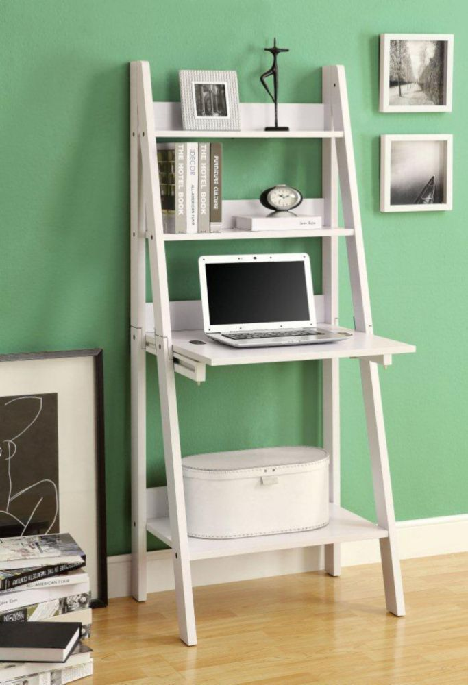 Ladder Bookcase With Drop Down Desk   White   The Monarch 61 In. Ladder  Bookcase With Drop Down Desk   White Will Help You Save Space Without  Having To ...