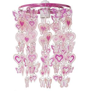 Girls bedroom pink hearts butterfly ceiling light pendant girls bedroom pink hearts butterfly ceiling light pendant lampshade mozeypictures