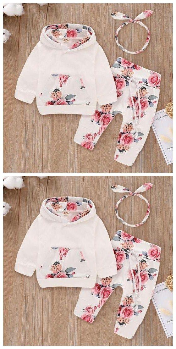 86c274755 Floral Long-sleeve Hoodie, Pants and Headband Set | Barneklær | Baby Dress, Baby  kids clothes og Cute baby clothes