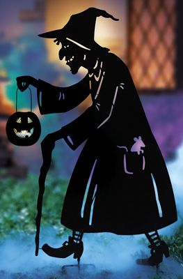23413 Witch Shadow Halloween Metal Garden Stake By Sensationaltreasures Halloween Garden Halloween Silhouettes Outdoor Halloween