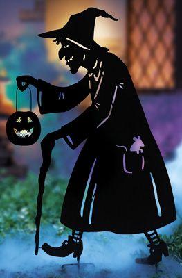 creepy witch metal halloween garden stake - Halloween Garden Stakes