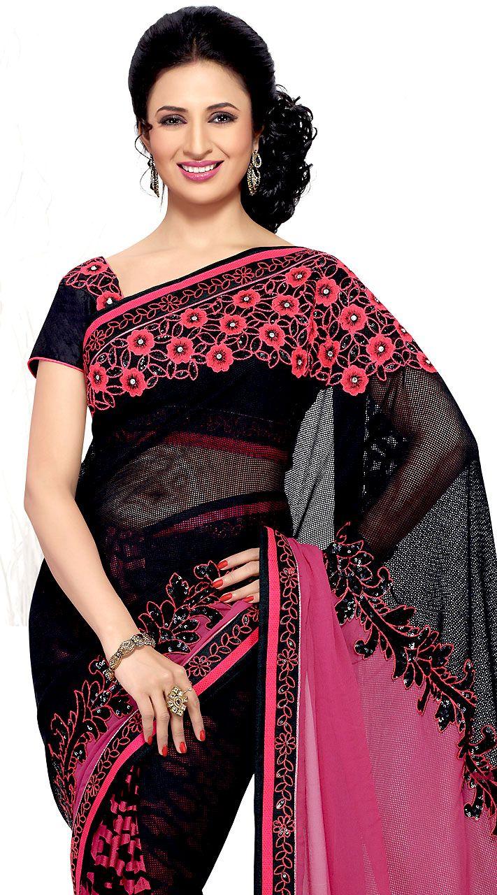 Divyanka Tripathi In Stunning Black Designer Saree (Item code : MS936537)  https://goo.gl/iEBa2p  #indiabazaaronline #Sarees #PartyWear #DivyankaTripathi #Black #DesignerSarees