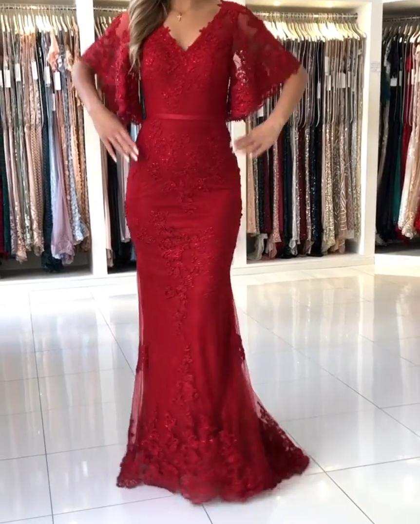 elegante abendkleider lang rot | abendmoden spitze mit