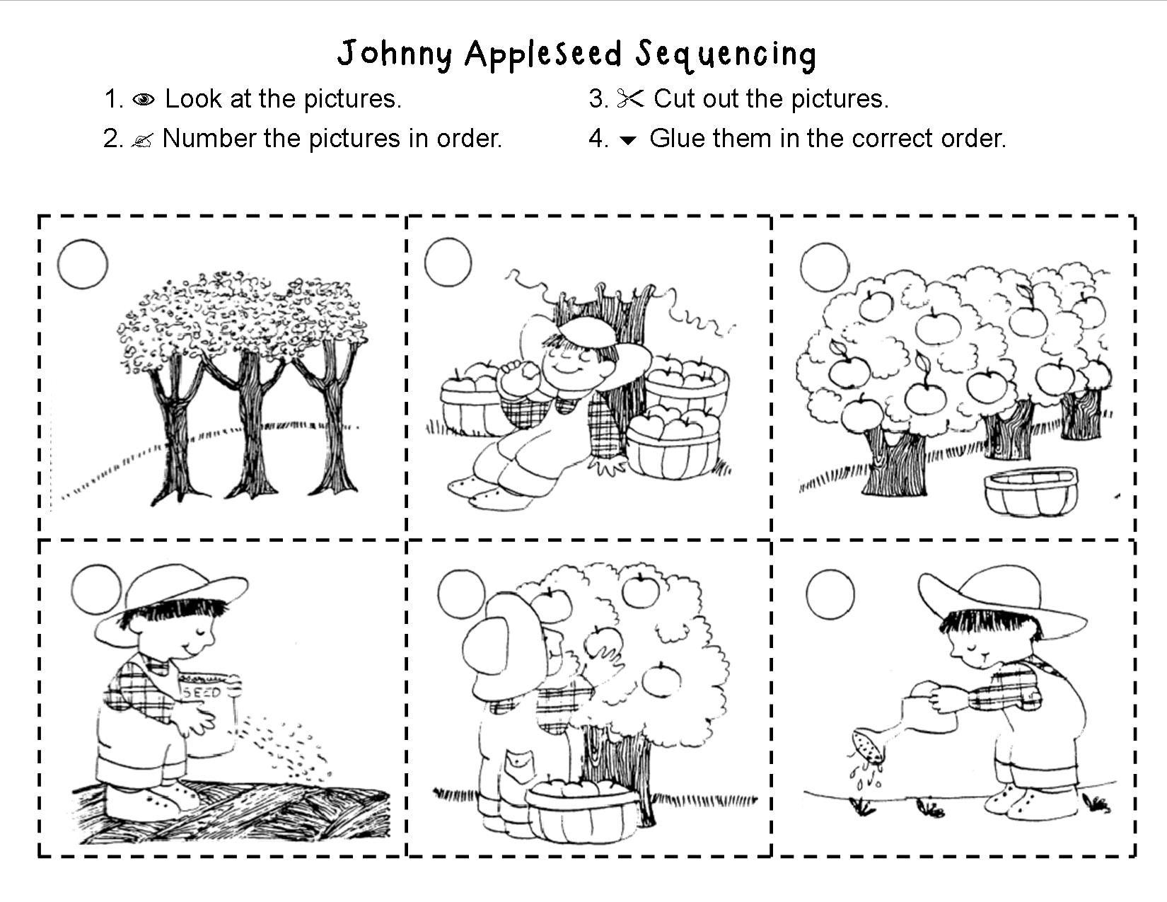 worksheet Johnny Appleseed Worksheets johnny appleseed sequencing made for 1st grade kindergarten grade