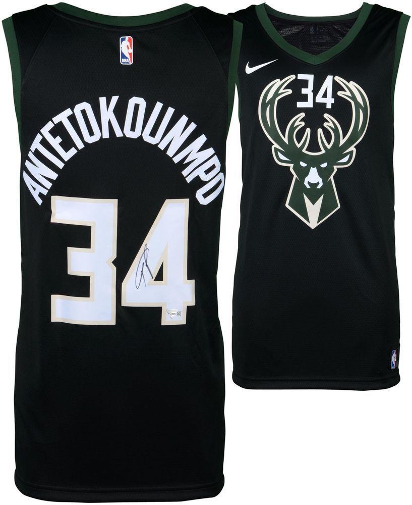 f980ec74096 Giannis Antetokounmpo Milwaukee Bucks Autographed Nike Black Swingman Jersey
