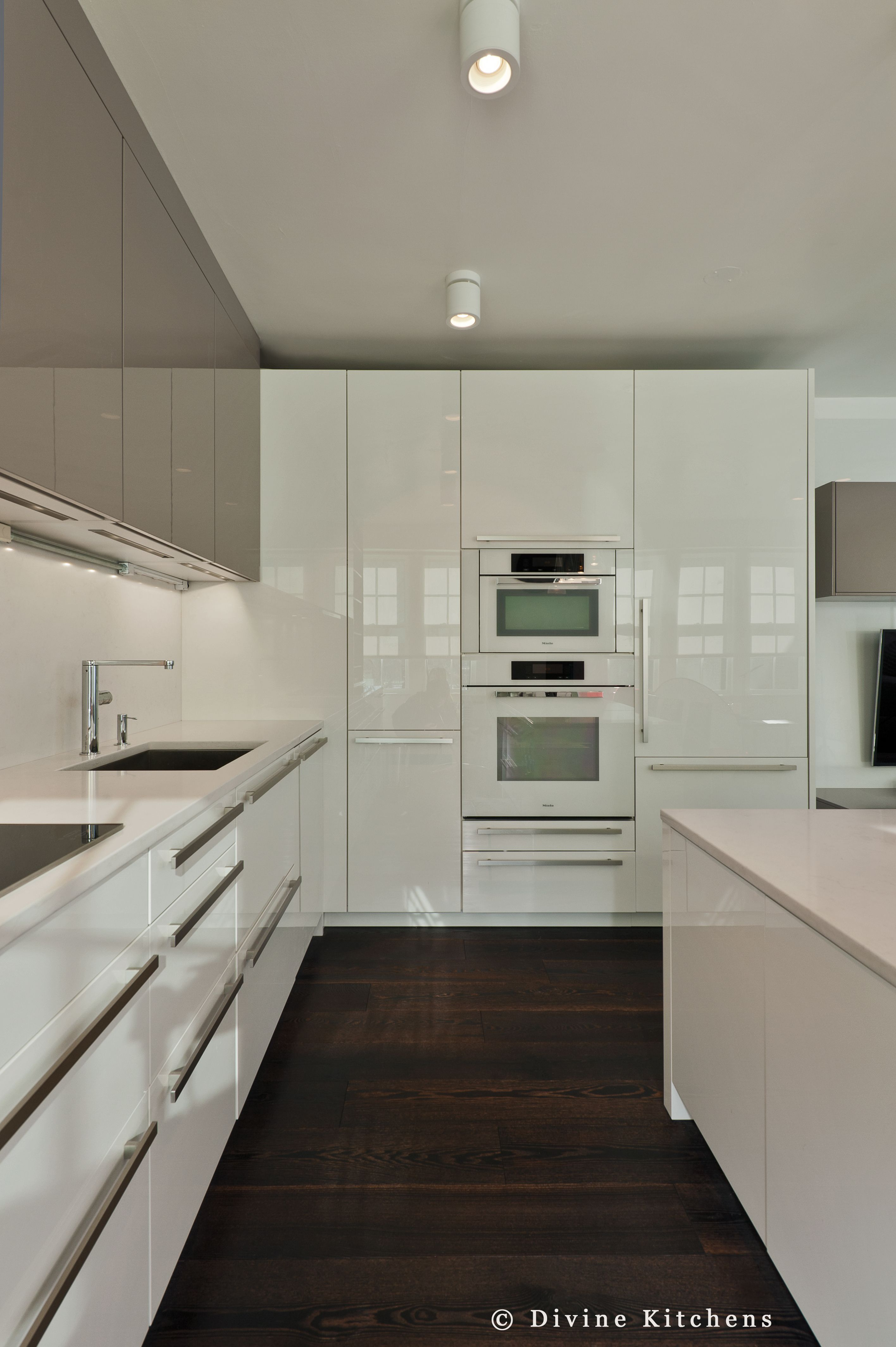 Boston Modern Kitchen White And Gray Cabinets Built In