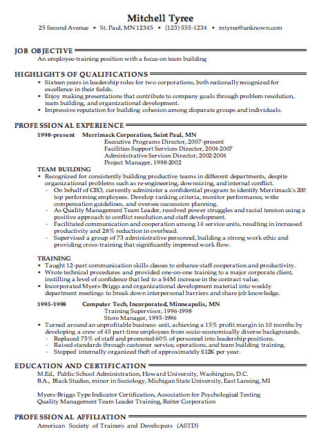 Combination Resume Sample For Employee Training Job