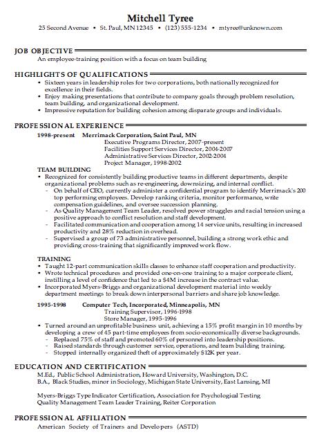 combination resume sample for employee training