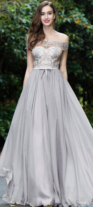 Grey Off Shoulder Lace Evening Gown (02171908)   Gowns, Lace
