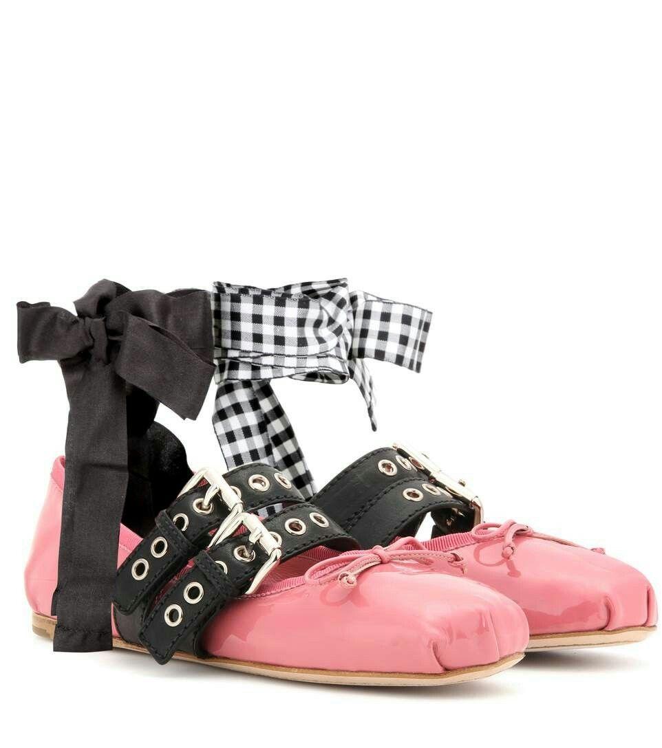 c4b61200deea4 Miu Miu red satin ballet pumps with eyelet buckles and ribbon ties ...