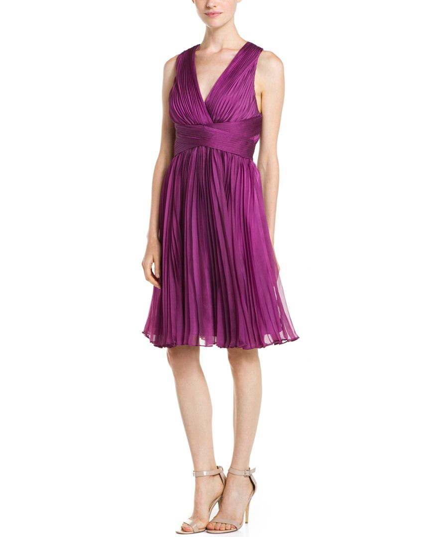 Halston Heritage Orchid Pleated Cross Back Cocktail Dress is on Rue ...