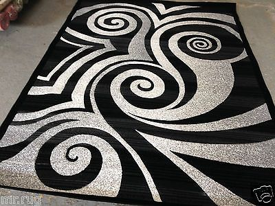 Modern Circle Area Rug Black White Gray Circles Swirls Brush
