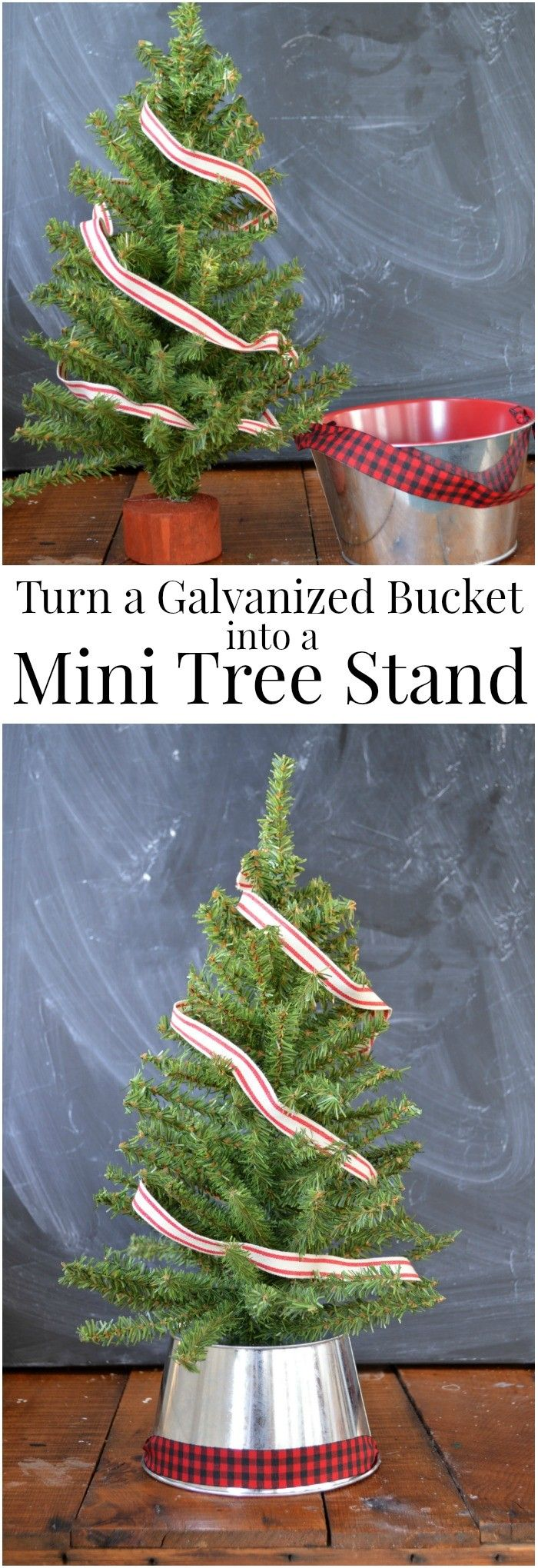 TURN A GALVANIZED BUCKET INTO A MINI TREE STAND Diy
