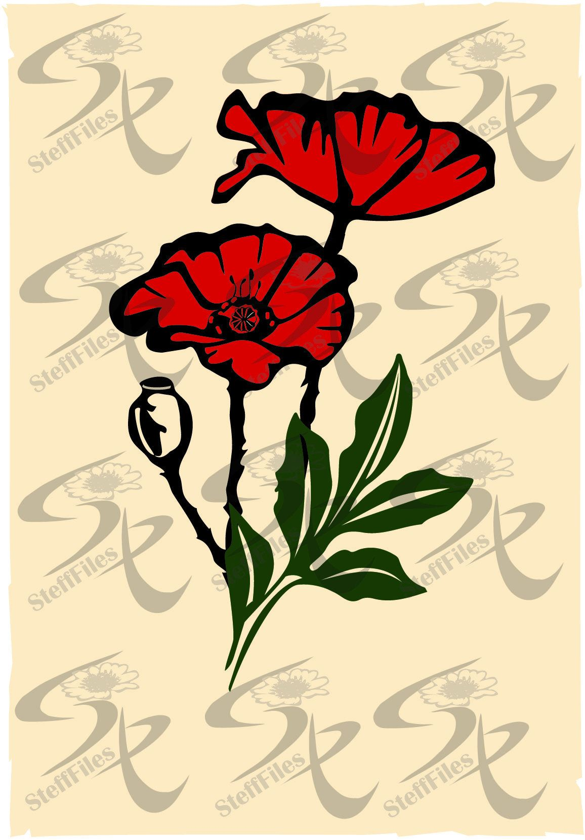 Vector POPPY FLOWERS 3 colors,clipart,SVG,dxf,ai, png, eps