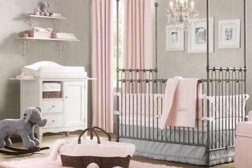 babyzimmer mit geschmack edel grau rosa dezent einrichtungsideen luxus kinderzimmer dekoration elegant - Babyzimmer Luxus