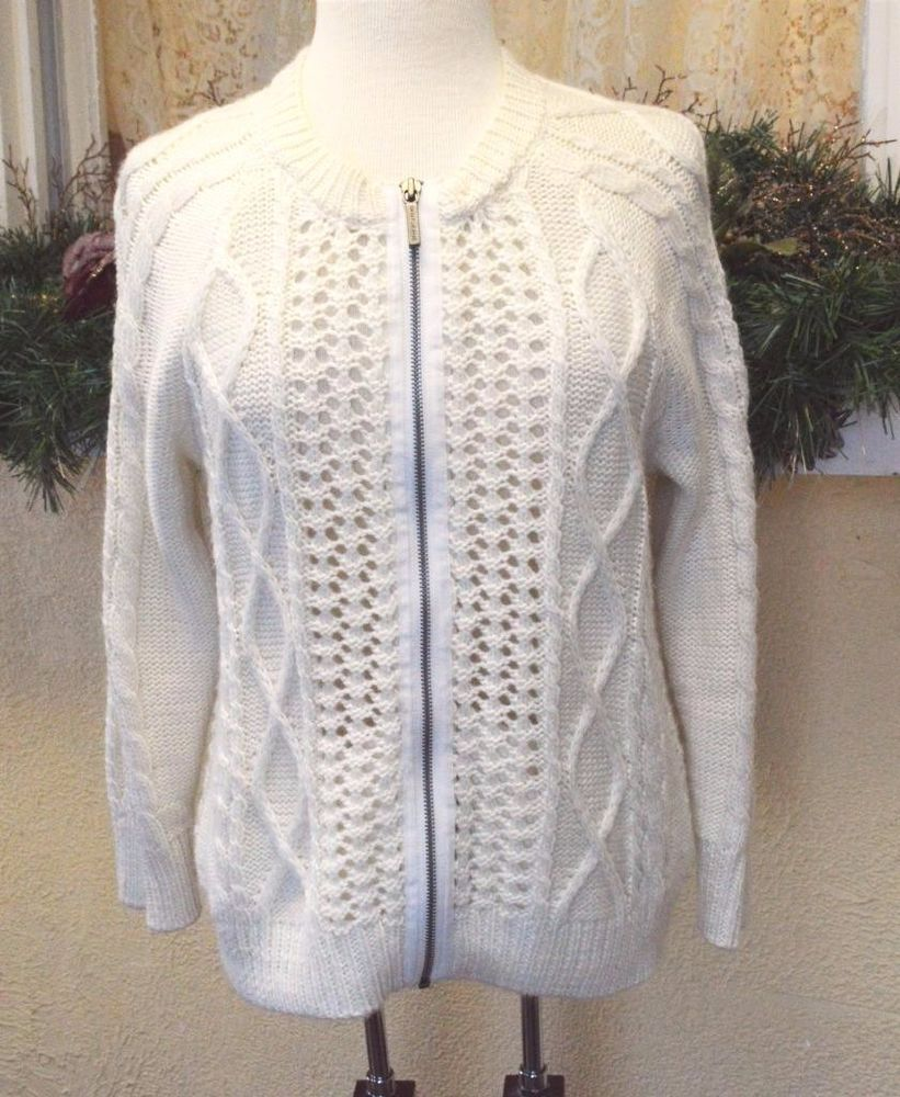 DKNY Jeans L Cardigan Sweater Ivory Pointelle Cable Knit L/S ...