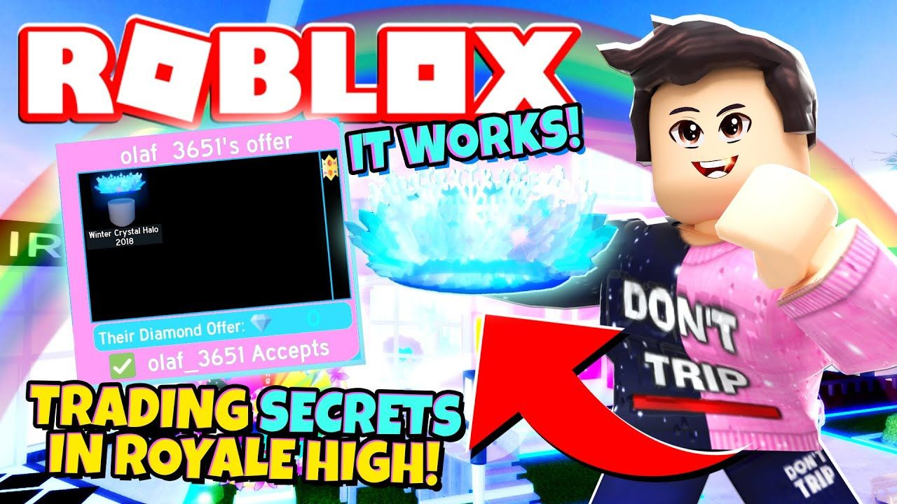 Secrets Trading For A Free Winter Halo In Royale High New Royale High Trading Update Roblox In 2020 Roblox Halo Trading
