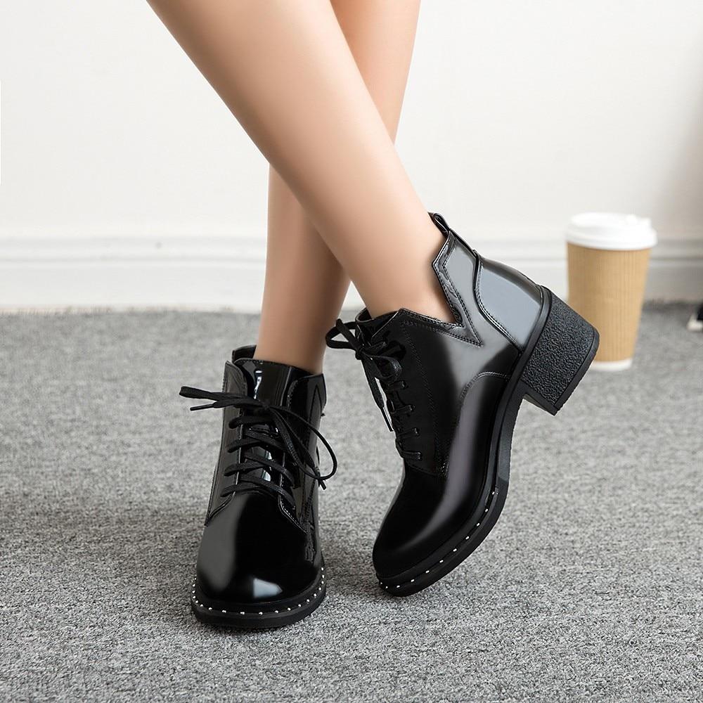 Black Lace Up Ladies Ankle Boots