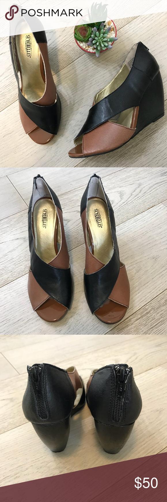 13619569e1f Seychelles two-toned black & brown peep toe wedges Seychelles two ...