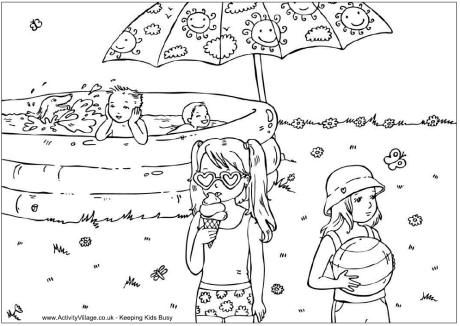 Paddling Pool Colouring Page Summer Activity