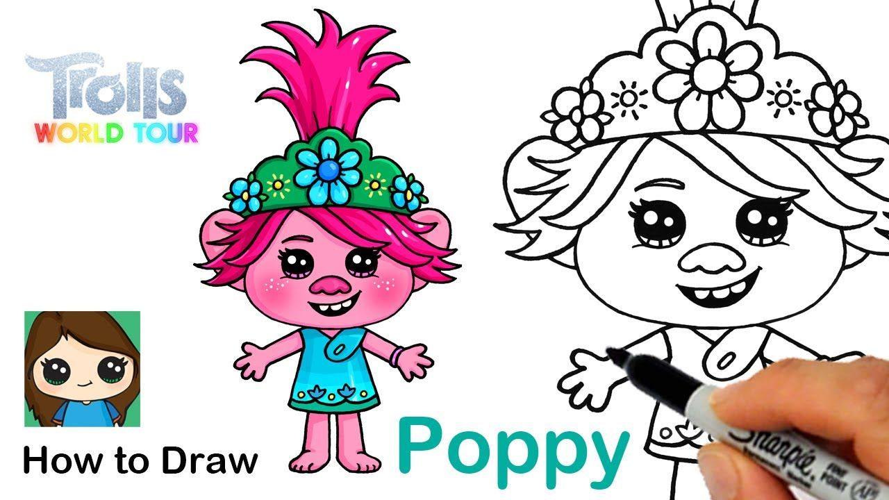 How To Draw Queen Poppy Trolls World Tour In 2020 Poppy Drawing Cute Drawings Drawings