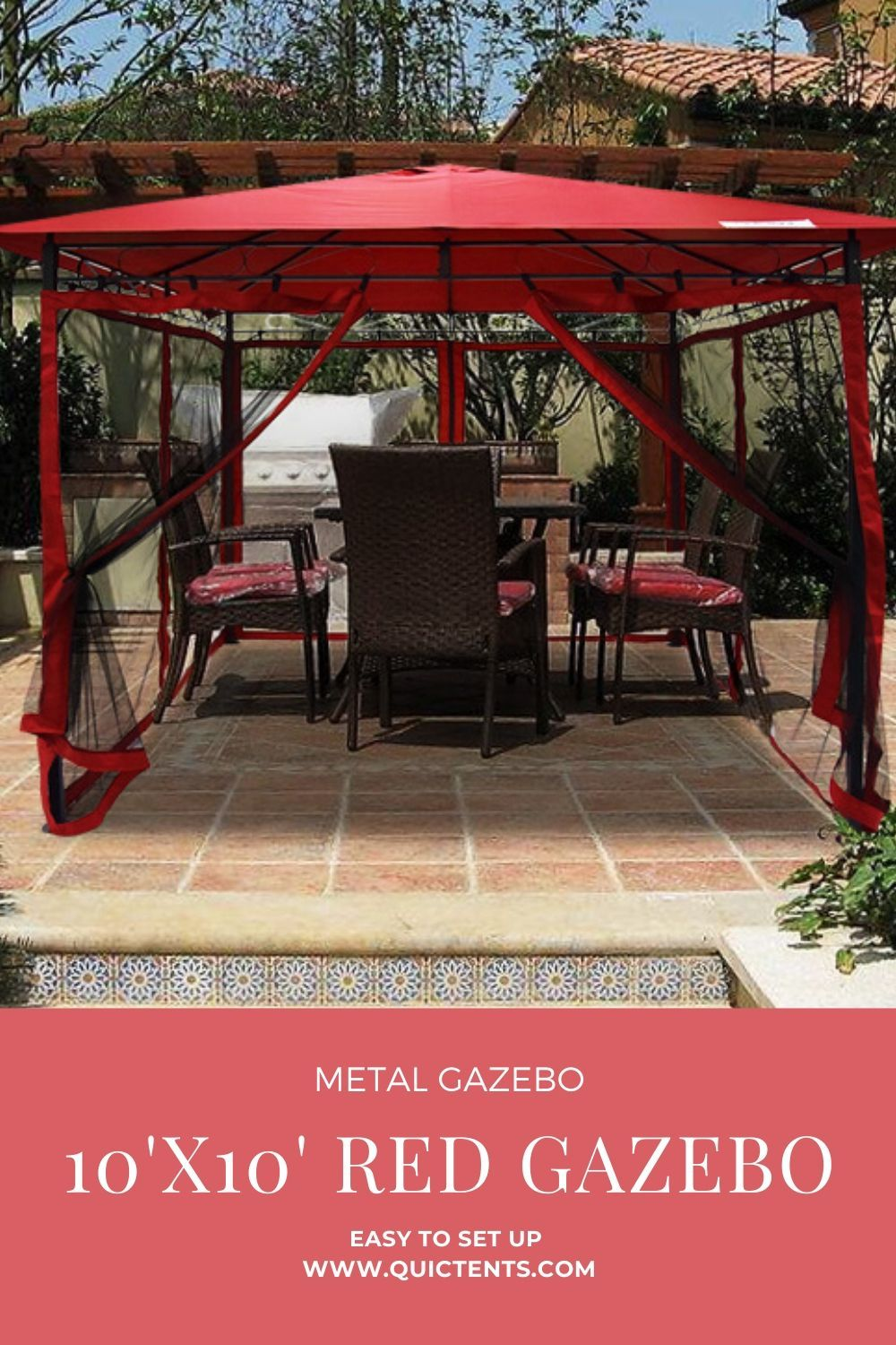 Quictent Screened 10 X 10 Metal Gazebo With Mesh Walls Red In 2020 Gazebo 10x10 Canopy Tent Canopy Tent