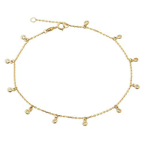 figaro for inch gold wrist solid ankle dp anklet and chain girls yellow italian women bracelet