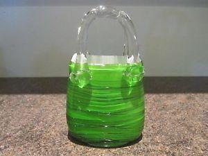 murano glass purse vases   Glass Handbag Vase Green White Lovely Colour Laguna Murano   eBay